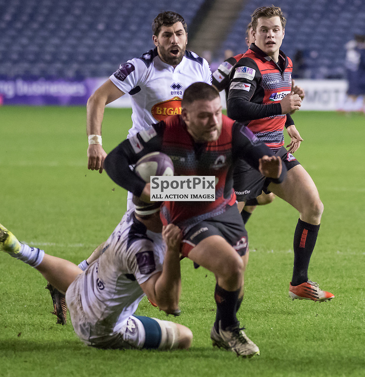 Edinburgh #1 Rory Sutherland tries to break the Agen defence..  Edinburgh Rugby v Agen, European Challenge Cup, 15th January 2016
