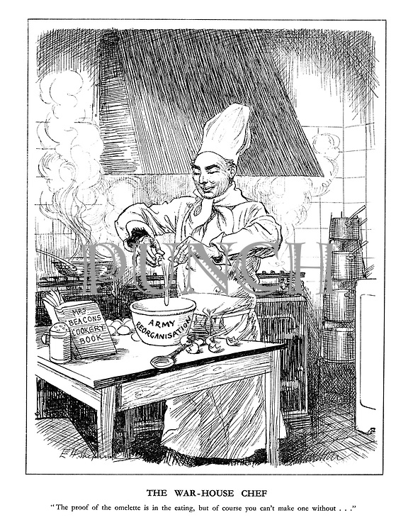 "The War-House Chef. ""The proof of the omeltte is in the eating, but of course you can't make one without..."""