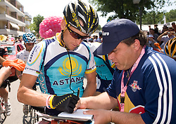 Lance Armstrong (USA) of  Team Astana with fans at start point of the 198 km long 3rd stage from Grado, Italy to Valdobbiadene, Italy at 92nd Giro d'Italia, on May 11, 2009, in Grado, Italy.  (Photo by Vid Ponikvar / Sportida)