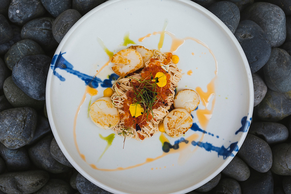Scallop somen with fish roe, ebi, and salted egg yolk sauce at Janice Wong Restaurant in Singapore.