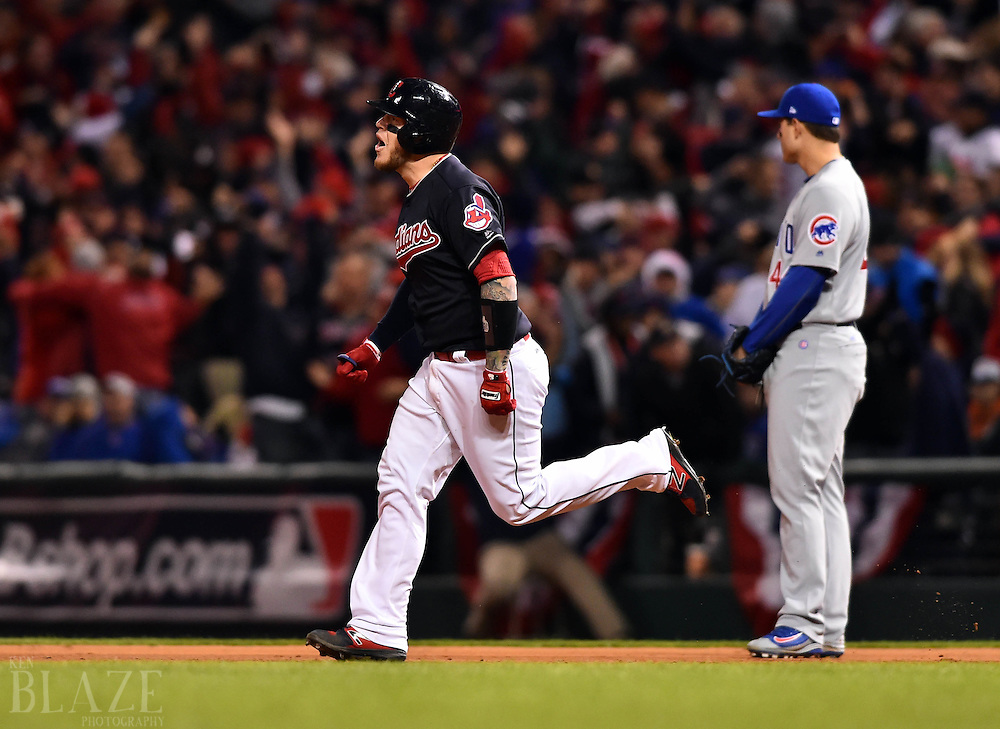 Oct 25, 2016; Cleveland, OH, USA; Cleveland Indians catcher Roberto Perez celebrates after hitting a three-run home run against the Chicago Cubs in the 8th inning in game one of the 2016 World Series at Progressive Field. Mandatory Credit: Ken Blaze-USA TODAY Sports