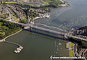 aerial photograph of Tamar Bridge and  Brunel's Royal Albert Bridge Saltash Plymouth Devon , England UK