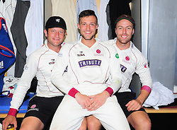 Roelof van der Merwe, Jack Leach and Ryan Davies of Somerset celebrate victory.  - Mandatory by-line: Alex Davidson/JMP - 06/08/2016 - CRICKET - The Cooper Associates County Ground - Taunton, United Kingdom - Somerset v Durham - County Championship - Day 3