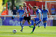 Hartlepool United defender Carl Magnay (2) during the EFL Sky Bet League 2 match between Exeter City and Hartlepool United at St James' Park, Exeter, England on 13 August 2016. Photo by Graham Hunt.