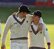 Craig Overton of Somerset and Tom Abell of Somerset walk off together at the end of the third days play during the Specsavers County Champ Div 1 match between Somerset County Cricket Club and Lancashire County Cricket Club at the Cooper Associates County Ground, Taunton, United Kingdom on 14 September 2017. Photo by Graham Hunt.