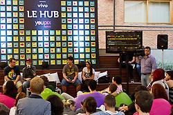 Palestra no palco Le Hub com JC, Mauricio Saldanha, Rafael Manzolli e Fernanda Paiva, no auditório da ESPM durante o youPIX, em Porto Alegre. FOTO: Emmanuel Denaui/Preview.com
