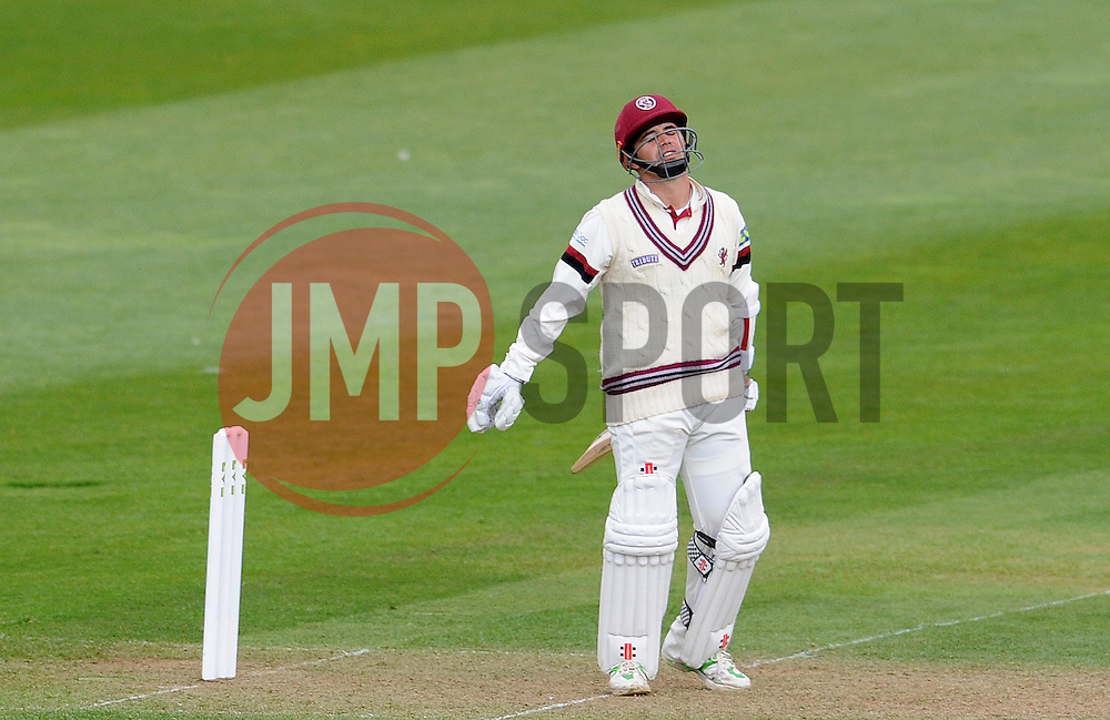 Dejection for Somerset's Johann Myburgh as he is dismissed.- Photo mandatory by-line: Harry Trump/JMP - Mobile: 07966 386802 - 12/04/15 - SPORT - CRICKET - LVCC County Championship - Day 1 - Somerset v Durham - The County Ground, Taunton, England.