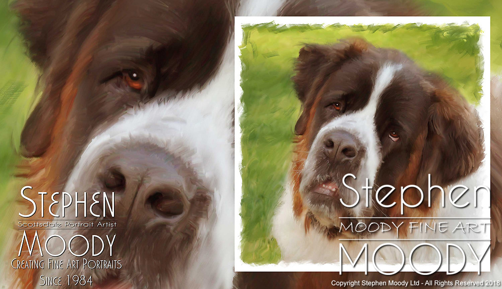 Saint Bernard Fine Art Pet Portraits by Stephen Moody - Scottsdale Portrait Artist and Master Photographer, Scottsdale, AZ