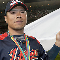 23 March 2009: #8 Akinori Iwamura of Japan celebrates the victory against Korea during the 2009 World Baseball Classic final game at Dodger Stadium in Los Angeles, California, USA. Japan defeated Korea 5-3
