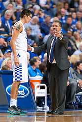 Kentucky head coach John Calipari, right, talks with forward Derek Willis during a break in the second half.<br /> <br /> The University of Kentucky hosted the University of Florida, Saturday, Feb. 06, 2016 at Rupp Arena in Lexington .