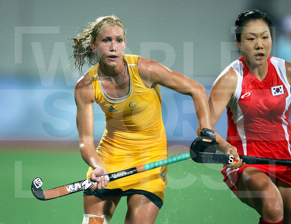 ..Casey Eastham of Australi, Australia v Korea on Day 2 at the Beijing Olympic Green Hockey Stadium, 10-8-08  ..Photo: Grant Treeby/WSP
