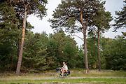 Fietsers rijden langs het natuurgebied Weerter- en Budelerbergen.<br /> <br /> Cyclists pass the Weerter- and Budelerbergen.