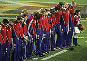 British and Irish Lions players observe a minuites silence in memory of the London bombing victims and familys prior to the start of the 3rd test match between the New Zealand All Blacks and the British and Irish Lions at Eden Park, Auckland, New Zealand on Saturday 9 July 2005. Photo:Andrew Cornaga/PHOTOSPORT<br />