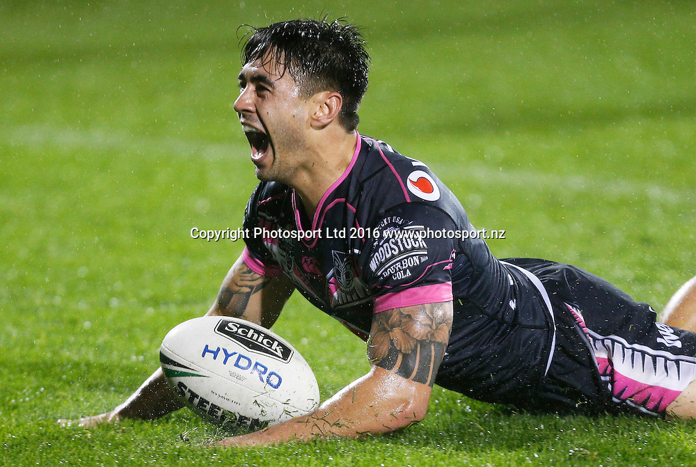 Shaun Johnson celebrates his try.<br /> Vodafone Warriors v Penrith Panthers. NRL Rugby League. Mt Smart Stadium, Auckland, New Zealand. Saturday 30 July 2016. &copy; Copyright Photo:  www.Photosport.nz