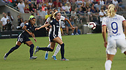 North Carolina Courage midfielders Denise O'Sullivan (8) and Debinha (10) race to a loose ball during an International Champions Cup women's soccer game, Sunday, Aug. 18, 2019, in Cary, Olympique Lyonnais bested the North Carolina Courage 1-0 in the finals.  (Brian Villanueva/Image of Sport)