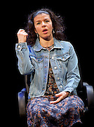 Another World <br /> Losing Our Children To Islamic State <br /> directed by Nicholas Kent <br /> at Temporary Theatre, National Theatre, Southbank, London, Great Britain<br /> Press photocall <br /> 14th April 2016 <br /> <br /> <br /> <br /> Sirine Saba as Samira<br /> <br /> <br /> <br /> <br /> Photograph by Elliott Franks <br /> Image licensed to Elliott Franks Photography Services