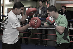 October 16, 2012; New York, NY; USA; Danny Garcia works out for the media with his father Angel Garcia ahead of his fight against Erik Morales Saturday night at the Barclay's Center in Brooklyn, NY.