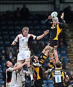Twickenham, GREAT BRITAIN, Wasps' James HASKELL, redirects the line out ball, during the Heineken Cup Rugby Pool 2. Match, London Wasps vs Edinburgh , played at Adams Park, Wycombe, Buck, on Sun. 14.12.2008.  [Photo, Peter Spurrier/Intersport-images]