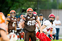 KELOWNA, BC - AUGUST 17:   Daniel TOWNSEND #66 of Okanagan Sun runs on the field against the Westshore Rebels at the Apple Bowl on August 17, 2019 in Kelowna, Canada. (Photo by Marissa Baecker/Shoot the Breeze)