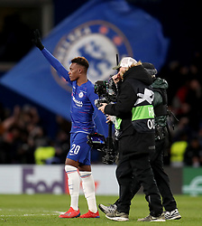 Chelsea's Callum Hudson-Odoi (left) applauds the fans after the final whistle