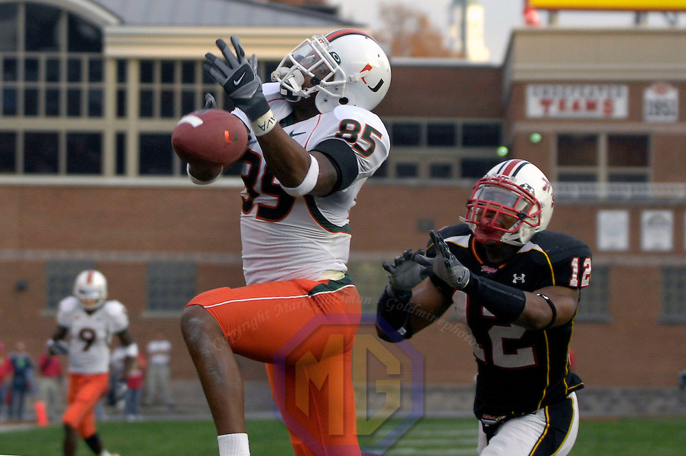 11 November 2006:  Miami University wide receiver Ryan Moore (85) cannot hang on to a pass in the 2nd quarter while being covered by University of Maryland safety Marcus Wimbush (12).  The Maryland Terrapins defeated the Miami University Hurricanes 14-13 at Byrd Stadium in College Park, Maryland.<br />