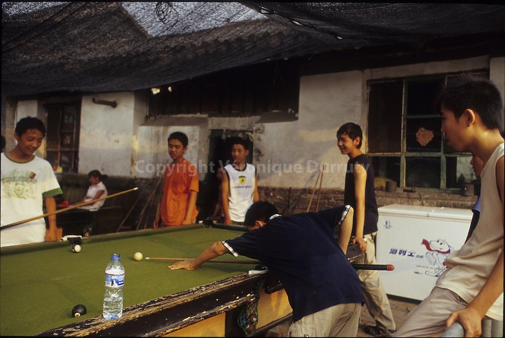 Joueurs de billard, Pingyao, Shanxi, Chine