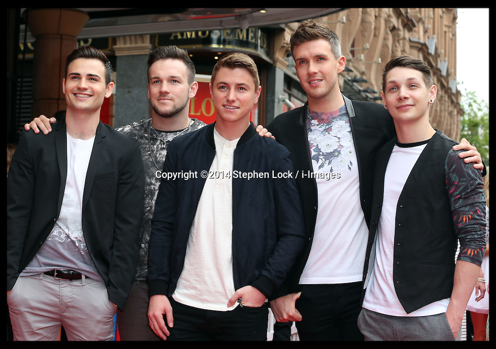 Image licensed to i-Images Picture Agency. 13/07/2014. London, United Kingdom. Collabro at the World premiere of Pudsey The Dog : The Movie in London.  Picture by Stephen Lock / i-Images