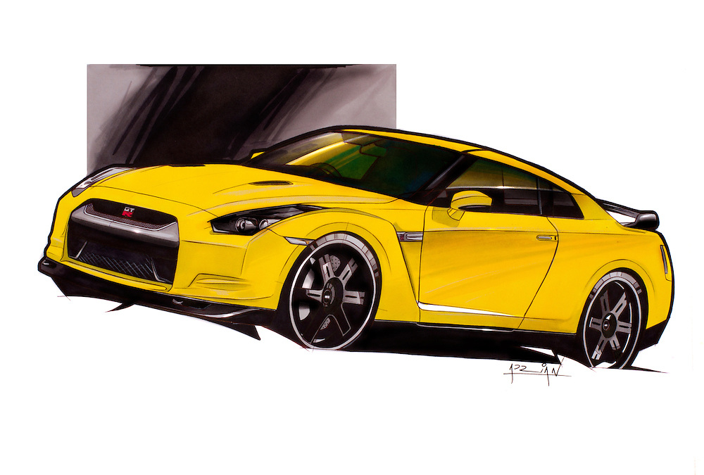 Nissan GTR car art marker drawing, illustration by Adrian Dewey, using Letraset Tria markers on paper