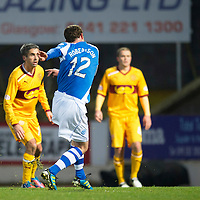 St Johnstone v Motherwell...03.11.12      SPL<br /> David Robertson scores a late goal<br /> Picture by Graeme Hart.<br /> Copyright Perthshire Picture Agency<br /> Tel: 01738 623350  Mobile: 07990 594431