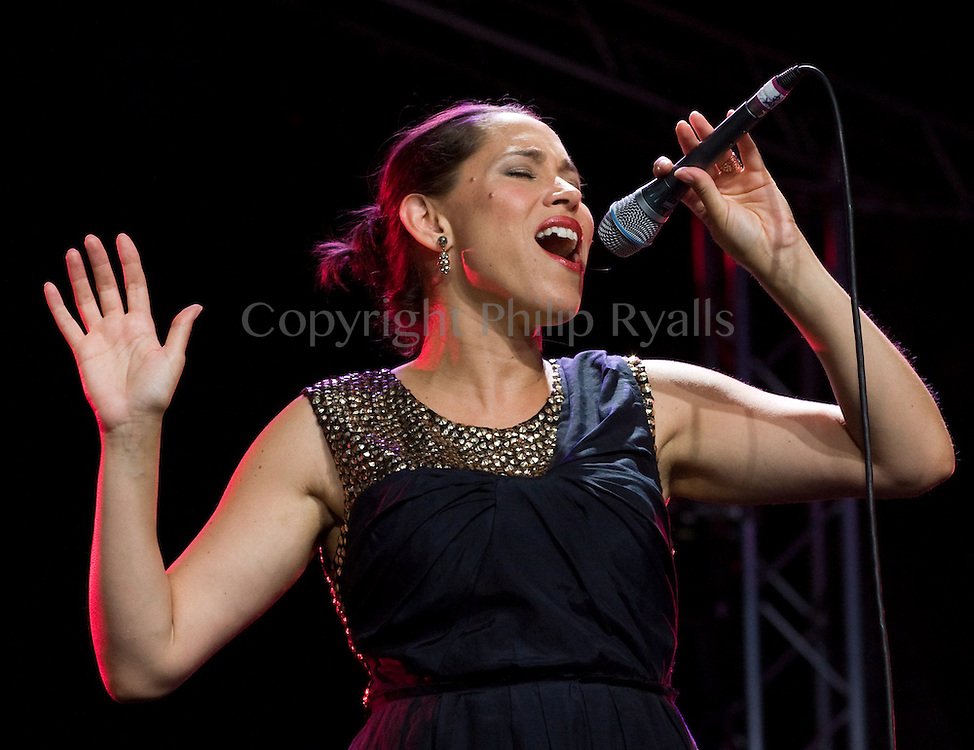 CAMBRIDGE, UK - JULY 31: China Forbes of Pink Martini performs on stage at Cambridge Folk Festival on July 31st, 2010 in Cambridge, United Kingdom. (Photo by Philip Ryalls/Redferns)**China Forbes