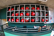 ANAHEIM, CA - JULY 05:  Bats and batting helmets are set and ready for the Los Angeles Angels of Anaheim game against the Baltimore Orioles at Angel Stadium on Sunday, July 5, 2009 in Anaheim, California.  The Angels defeated the Orioles 9-6.  (Photo by Paul Spinelli/MLB Photos via Getty Images)