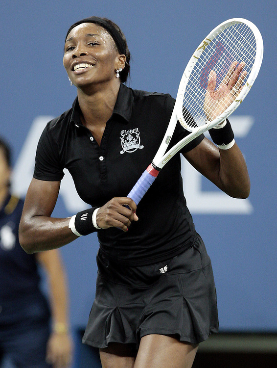 Venus Williams of the US celebrates after defeating Alon Bondarenko of Ukraine in their third round match on the fifth day of the 2007 US Open tennis tournament in Flushing Meadows, New York, USA, 31 August 2007.