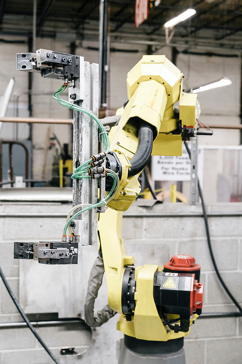 A FANUC robot from Japan in use at Marlin Steel Wire Products LLC in Baltimore on March 16, 2017. Marlin Steel uses three robots on their production floor, one from Ready Robotics, a company less than two miles away. CREDIT: Greg Kahn / GRAIN for the Wall Street Journal ROBOTGAP