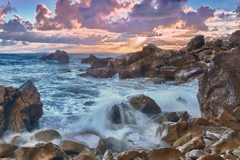 Corona Del Mar - Rocky Cove High Tide - Sunset - HDR