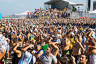Mainly Argentina fans react to a near miss at the FIFA Fan Fest, Copacabana beach, Rio de Janeiro, during the Argentina v Belgium World Cup quarter final match which was shown on big screens.<br /> Picture by Andrew Tobin/Focus Images Ltd +44 7710 761829<br /> 05/07/2014