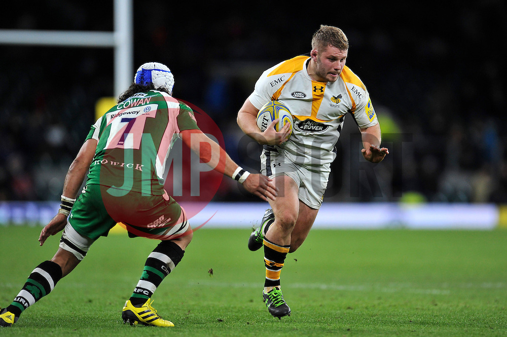 Thomas Young of Wasps takes on the London Irish defence - Mandatory byline: Patrick Khachfe/JMP - 07966 386802 - 28/11/2015 - RUGBY UNION - Twickenham Stadium - London, England - London Irish v Wasps - Aviva Premiership.