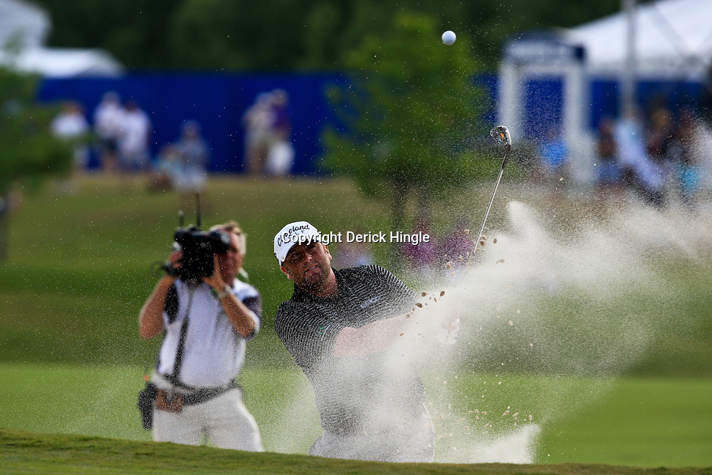 2009 April 26: Steve Marino of Tequesta, FL hits from a sand trap on the 18th hole during the final round of the Zurich Classic of New Orleans PGA Tour golf tournament played at TPC Louisiana in Avondale, Louisiana.