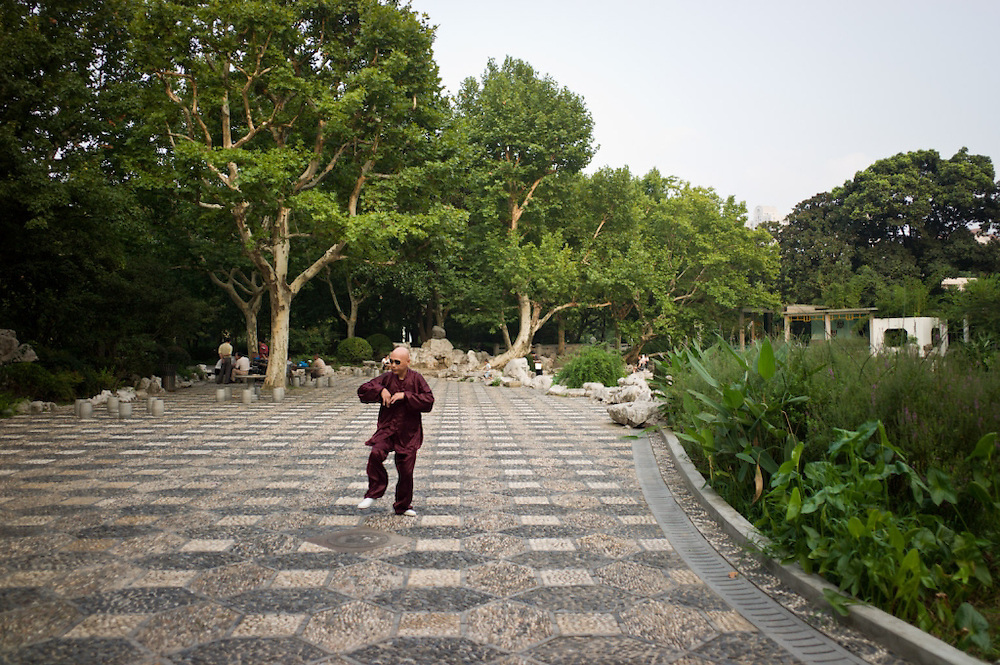 Martial artist, Fuxing Park, Shanghai, China.