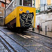 One of the funiculars which run up and down the steep streets of Lisbon Portugal