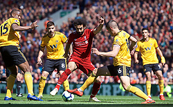 LIVERPOOL, ENGLAND - Sunday, May 12, 2019: Liverpool's Mohamed Salah (L) and Wolverhampton Wanderers' captain Conor Coady during the final FA Premier League match of the season between Liverpool FC and Wolverhampton Wanderers FC at Anfield. (Pic by David Rawcliffe/Propaganda)
