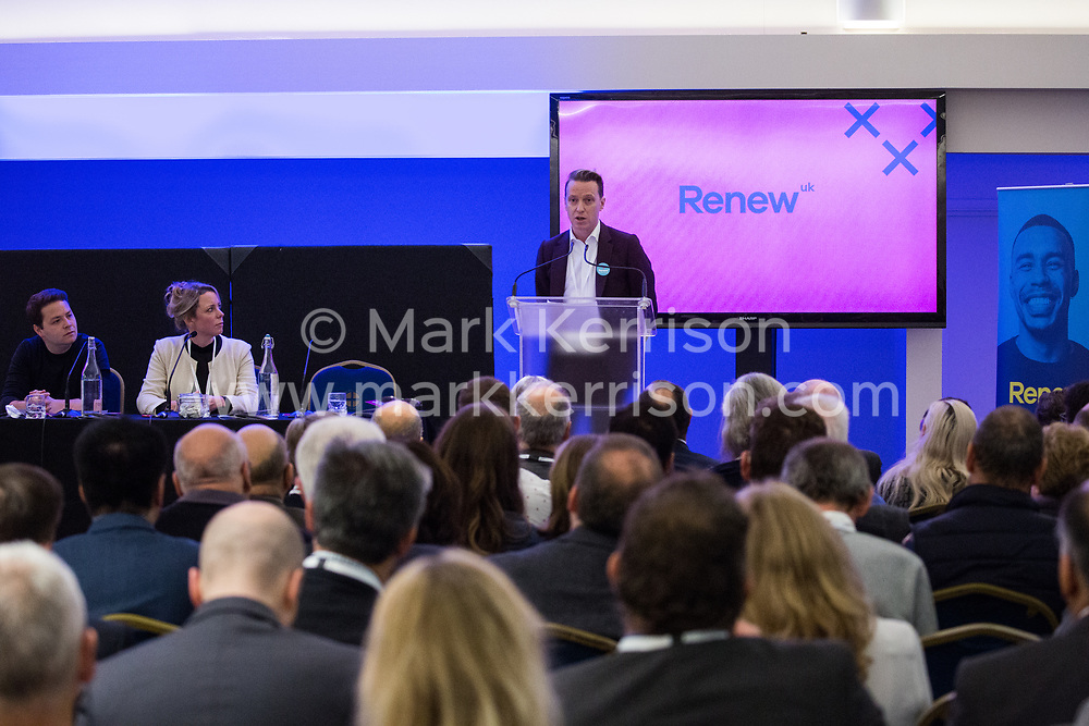 London, UK. 24th November, 2018. James Clarke, Deputy Leader of Renew UK, a new centrist political party launched in February 2018, addresses its inaugural National Assembly at Westminster Central Hall. Led by Annabel Mullin, James Torrance and James Clarke, Renew UK has signed up 100 candidates ready to stand in future UK elections based on a wide-ranging programme of reform.