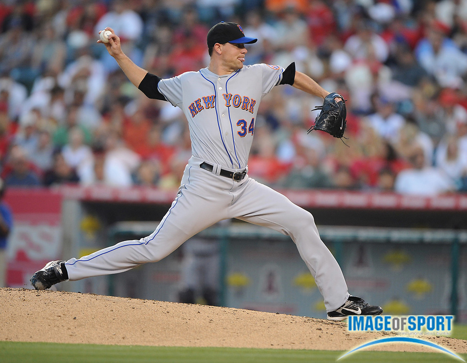 Jun 16, 2008; Anaheim, CA, USA; New York Mets starter Mike Pelfrey (34) during game against the Los Angeles Angels at Angel Stadium. Mandatory Credit: Kirby Lee/Image of Sport-US PRESSWIRE