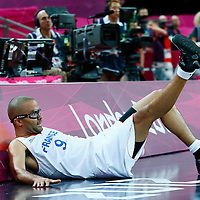 08 August 2012: France Tony Parker fells during 66-59 Team Spain victory over Team France, during the men's basketball quarter-finals, at the 02 Arena, in London, Great Britain.
