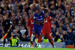 LONDON, ENGLAND - Saturday, September 29, 2018: Liverpool's Naby Keita (right) is tackled by Chelsea's N'Golo Kante during the FA Premier League match between Chelsea FC and Liverpool FC at Stamford Bridge. (Pic by David Rawcliffe/Propaganda)
