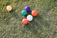 Colored whiffle balls on grass shot from above.