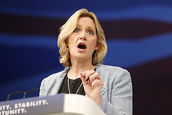 © Licensed to London News Pictures. 05/10/2015. Manchester, UK. Energy and Climate Change Secretary Amber Rudd speaking at Conservative Party Conference at Manchester Central in Manchester on Monday, 5 October 2015. Photo credit: Tolga Akmen/LNP
