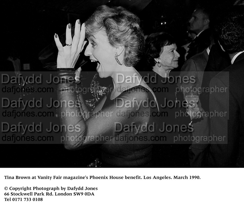 Tina Brown at Vanity Fair magazine's Phoenix House benefit. Los Angeles. March 1990.<br /><br />&copy; Copyright Photograph by Dafydd Jones<br />66 Stockwell Park Rd. London SW9 0DA<br />Tel 0171 733 0108<br />Film.90199/16