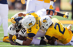 Sep 3, 2016; Morgantown, WV, USA; West Virginia Mountaineers safety Kyzir White (8) and West Virginia Mountaineers safety Jeremy Tyler (2) tackle Missouri Tigers wide receiver Johnathon Johnson (12) during the first quarter at Milan Puskar Stadium. Mandatory Credit: Ben Queen-USA TODAY Sports