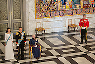 Copenhagen, 05-01-2016<br /> <br /> Queen Margrethe and Crown Prince Frederik and Crown Princess Mary attend the New Years Reception for Diplomats at Christiansborg Palace <br /> <br /> Photo; Royalportraits Europe/Bernard Ruebsamen