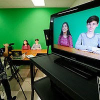 Thomas Wells | Buy at PHOTOS.DJOURNAL.COM<br /> Ilse Acosta, center left, and her co-anchor, Zack Murphree begin their newscast for the new WTMS at Tupelo Middle School Tuesday.